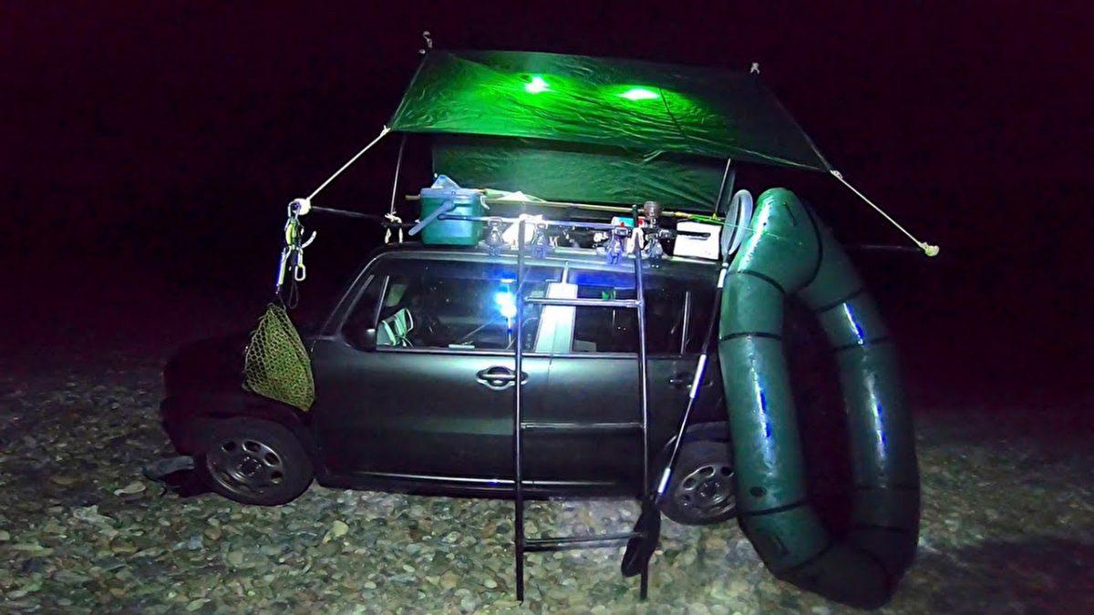 車の上に泊まって冒険と釣りとパックラフティング