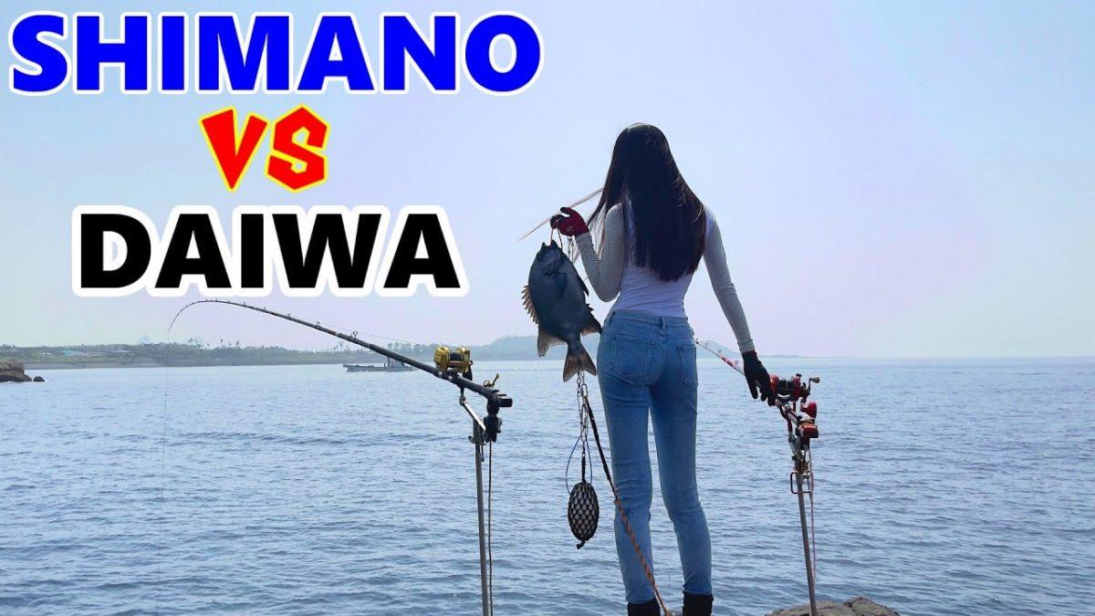 美女アングラーによるシマノvsダイワ大物石鯛が竿をブチ曲げる釣り対決