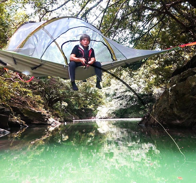 空中に浮くUFOテントで釣りしてみた【ゆるキャン】